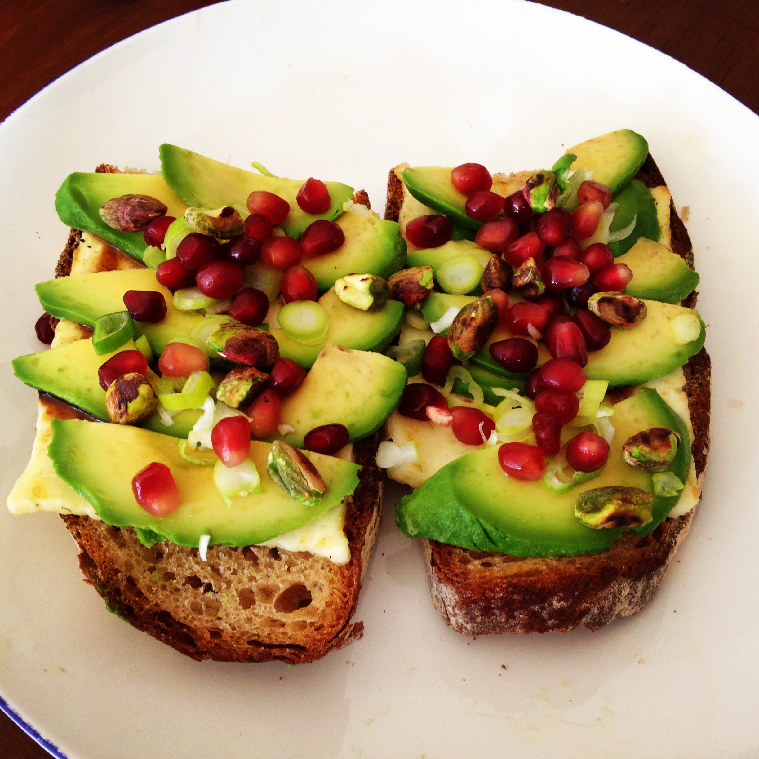 Grilled Halloumi & Avocado Tartine with Pomegranate & Pistachio