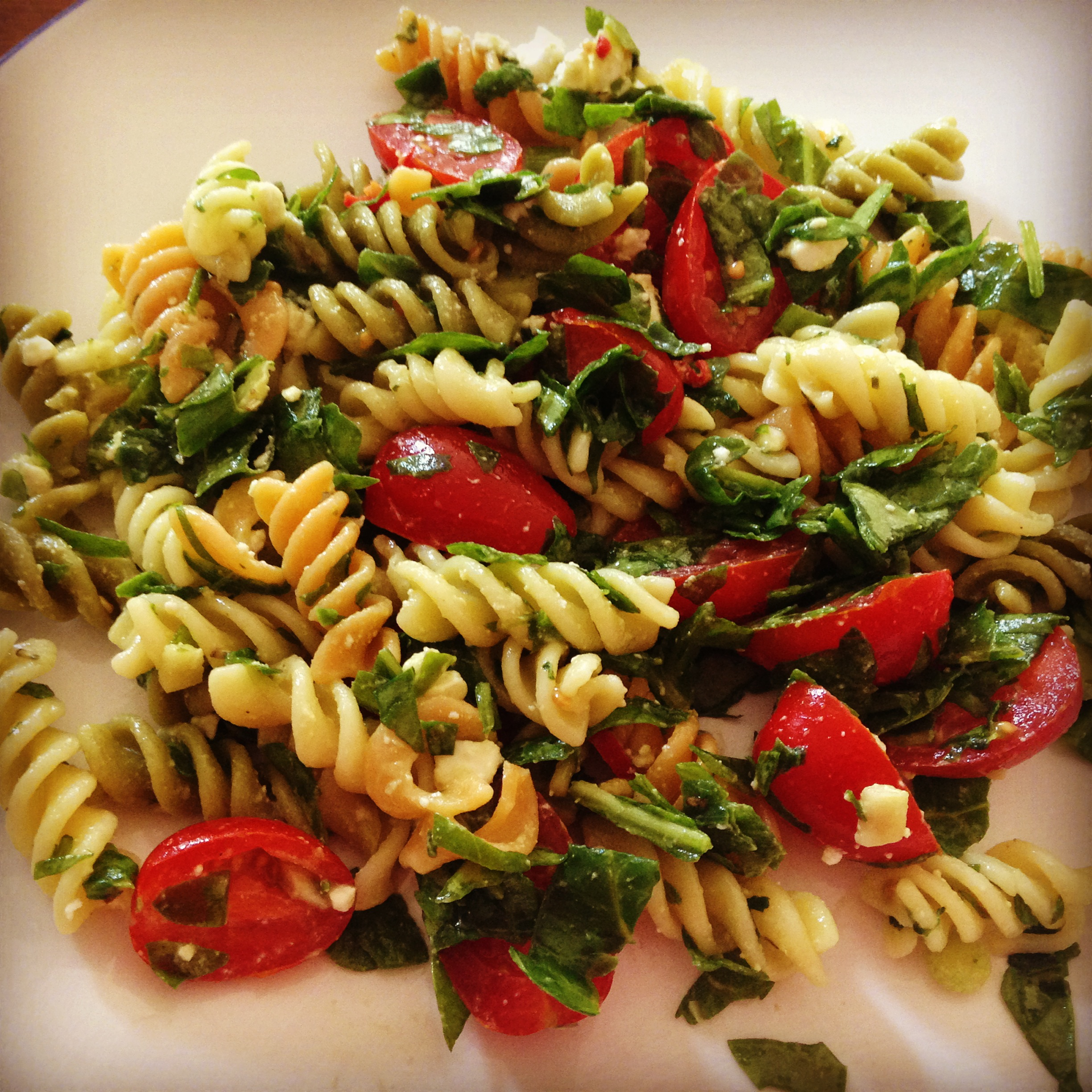 Fusilli Salad with Tomatoes, Spinach, Feta & Red Chilli